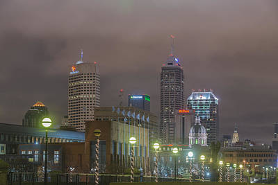 Photograph - Indianapolis Indiana Night Skyline Foggy 1 by David Haskett