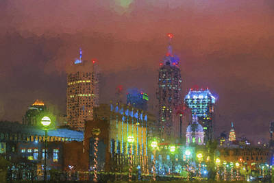 Photograph - Indianapolis Indiana Night Skyline Painted Digitally by David Haskett