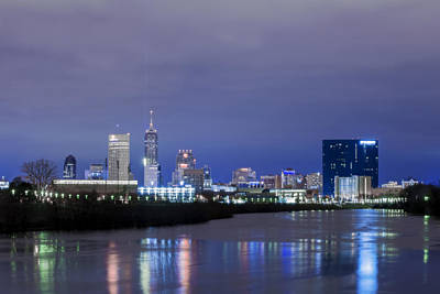 Photograph - Indianapolis Indiana Night Skyline Winter 2015 by David Haskett