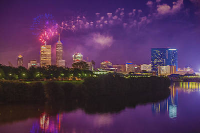 Photograph - Indianapolis Indiana Oil Fireworks 4th Of July by David Haskett