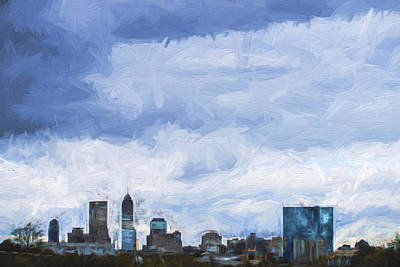 Photograph - Indianapolis Indiana Painted Digitally Blue 2 by David Haskett