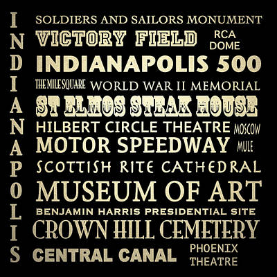 Indianapolis Famous Landmarks Art Print