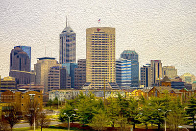 Photograph - Indianapolis Indiana Skyline Digitally Painted by David Haskett