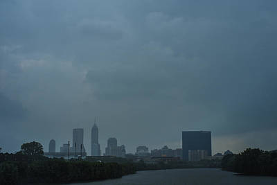 Photograph - Indianapolis Indiana Skyline During A Rain Downpour by David Haskett