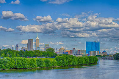 White River Photograph - Indianapolis Indiana Skyline Hdr 9906 by David Haskett