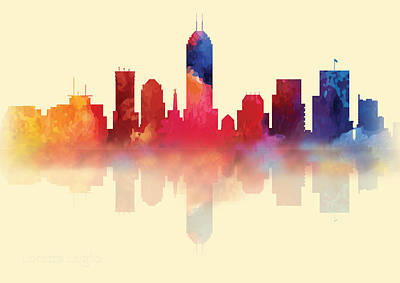 Digital Art - Indianapolis Indiana Skyline I by Loretta Luglio