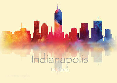 Digital Art - Indianapolis Indiana Skyline II by Loretta Luglio