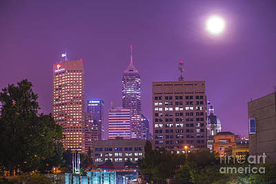 Photograph - Indianapolis Indiana Skyline Moon by David Haskett