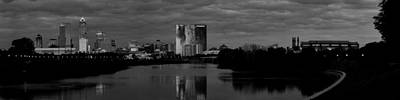 Photograph - Indianapolis Indiana Skyline Panoramic Black White by David Haskett