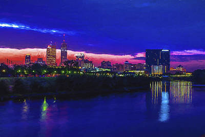 Photograph - Indianapolis Indiana Skyline Sunrise Digitally Painted by David Haskett II