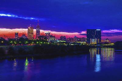 Merica Photograph - Indianapolis Indiana Skyline Sunrise Digitally Painted by David Haskett