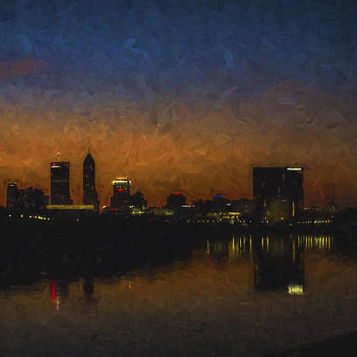 Photograph - Indianapolis Indiana Skyline Sunrise Square Digitally Painted by David Haskett