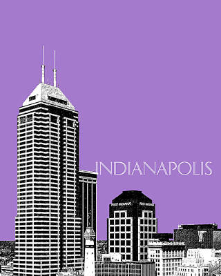Indiana Art Digital Art - Indianapolis Indiana Skyline - Violet by DB Artist