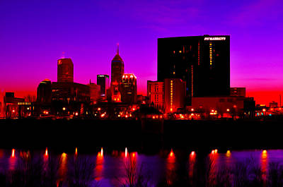 Photograph - Indianapolis Indiana Skylinedigitally Painted by David Haskett II