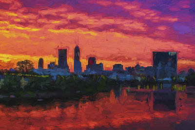 Of Painter Photograph - Indianapolis Indiana Sunrise Skyline Digital Paint by David Haskett