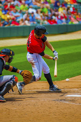 Indianapolis Indians Jared Goedert Digital Oil Painting Art Print by David Haskett