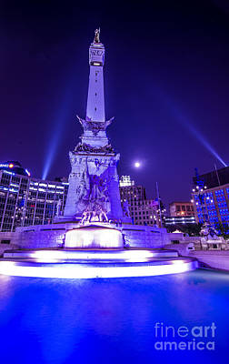 Photograph - Indianapolis Monument Circle Night by David Haskett