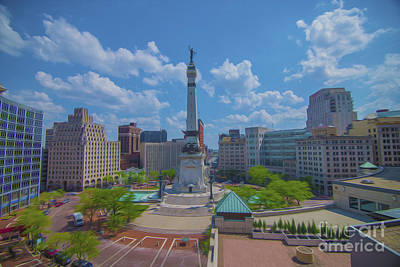 Photograph - Indianapolis Monument Circle Oil by David Haskett