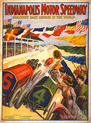 Indy 500 Photograph - Indianapolis Motor Speedway 1909 by Padre Art