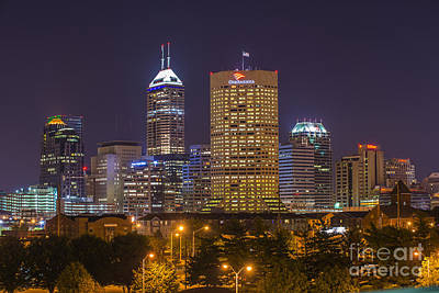 Indiana Landscapes Photograph - Indianapolis Night Skyline Echo by David Haskett