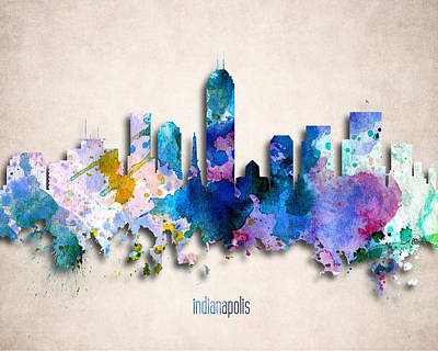 Indianapolis Painted City Skyline Art Print by World Art Prints And Designs