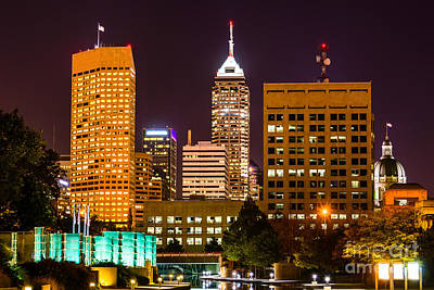 Indiana Photograph - Indianapolis Skyline At Night Picture by Paul Velgos