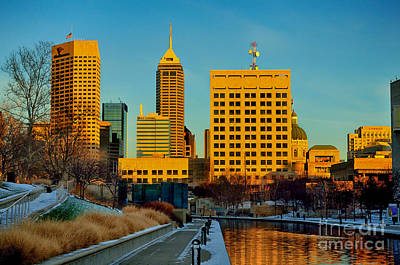 Indiana Winters Photograph - Indianapolis Skyline Dynamic by David Haskett