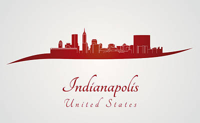Indiana Landscapes Digital Art - Indianapolis Skyline In Red by Pablo Romero