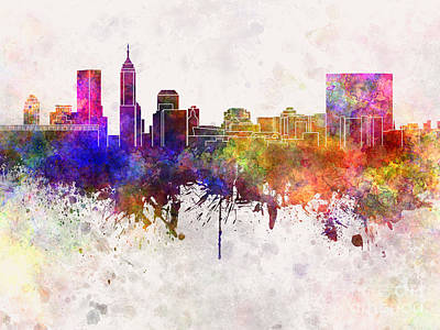 Indianapolis Skyline In Watercolor Background Art Print by Pablo Romero