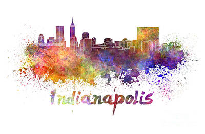 Indianapolis Skyline In Watercolor Print by Pablo Romero