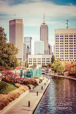 Canal Walk Photograph - Indianapolis Skyline Old Retro Picture by Paul Velgos