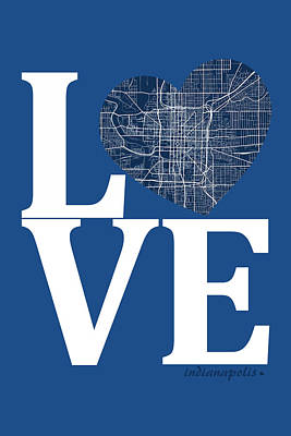 Road Digital Art - Indianapolis Street Map Love - Indianapolis Indiana Road Map In  by Jurq Studio