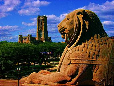 Art Print featuring the photograph Indianapolis War Memorial Lion by P Dwain Morris