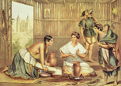 Tortillas Photograph - Indians Preparing Tortillas, From An Album Of The Mexican Republic Colour Litho by Julio Michaud