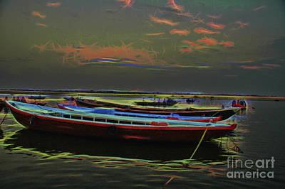 Photograph - Indie Boats At Night Painting by Rick Bragan