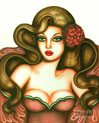 Pink Lips Drawing - Indifference by Tara  Shalton