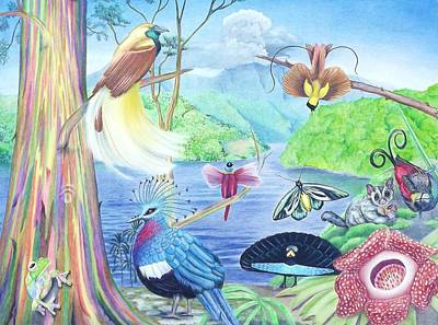 Eucalyptus Tree Drawing - Indigenous Creatures Of New Guinea Featuring The Birds Of Paradise by Beth Dennis