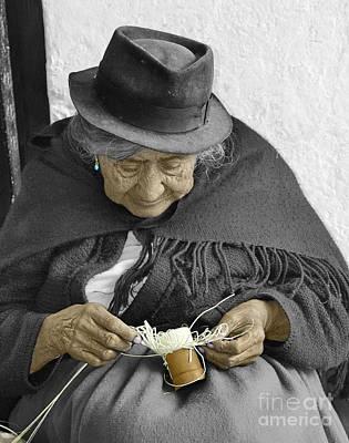 Hand-weaving Photograph - Indigenous Straw Weaver by Al Bourassa