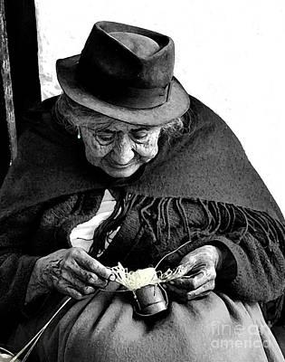 Hand-weaving Photograph - Indigenous Straw Weaver IIi by Al Bourassa
