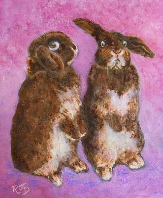 Painting - Indignant Bunny And Friend by Richard James Digance