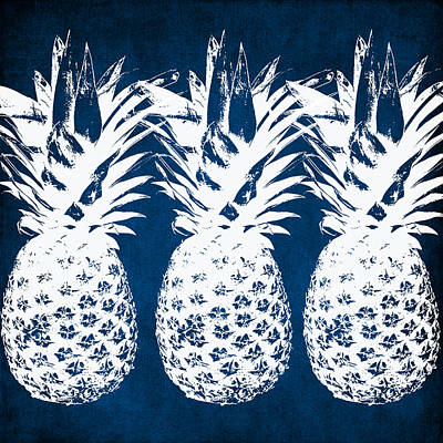 Food And Beverage Wall Art - Painting - Indigo And White Pineapples by Linda Woods