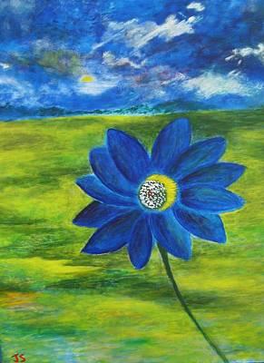 Indigo Blue - Sunflower Art Print