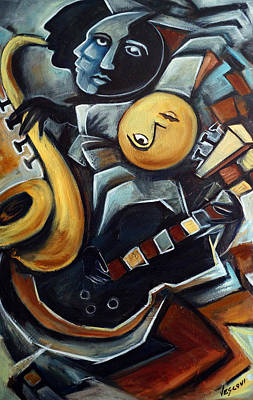 Blues Musician Painting - Indigo Blues by Valerie Vescovi