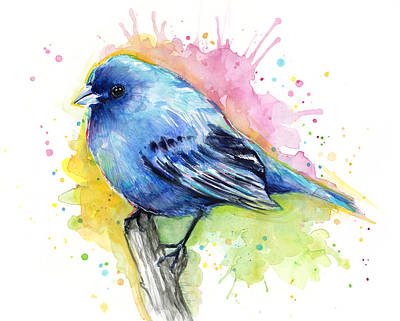 Bunting Painting - Indigo Bunting Blue Bird Watercolor by Olga Shvartsur