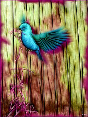 Bunting Digital Art - Indigo Bunting In The Rain by Daniel Janda