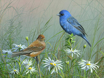 Painting - Indigo Bunting by Mike Brown