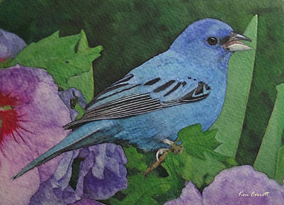 Bunting Painting - Indigo Bunting No 2 by Ken Everett