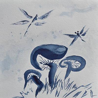 Odonata Painting - Indigo Calm by Beverley Harper Tinsley