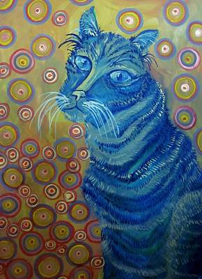 Painting - Indigo Cat by Cherie Sexsmith