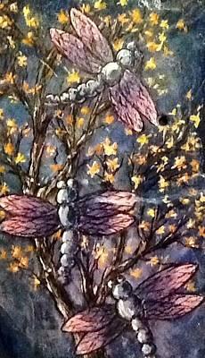 Art Print featuring the painting Indigo Dragons by Megan Walsh